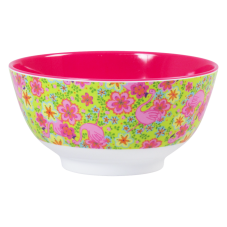 Flamingo Print Melamine Bowl Two Tone Fuchsia Rice DK