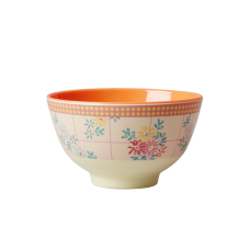 Embroidered Flower Print Small Melamine Bowl Rice DK