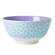 Melamine Bowl Blue Stardust Print Two Tone with Lavender Rice DK