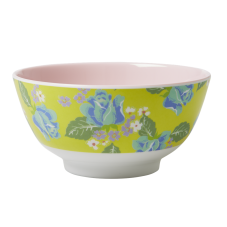 Melamine Printed Bowl - Two Tone pale pink and yellow with flowers by Rice DK