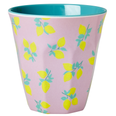 Melamine Cup Lemon Print Two Tone Dusty Jade Rice DK