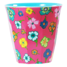 Pink Flower Melamine Cup With Two Tone Aqua Rice DK
