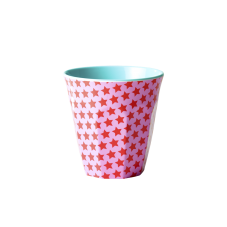 Girl Pink & Red Star Melamine Cup Blue Interior Rice DK