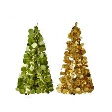 Medium Sequin Christmas Tree in Green or Gold By Rice DK