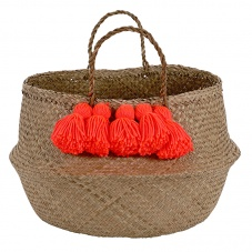 Neon Coral Tassel Natural Belly Basket By Meri Meri