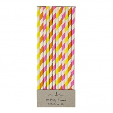 Neon Coloured Striped Paper Party Straws By Meri Meri