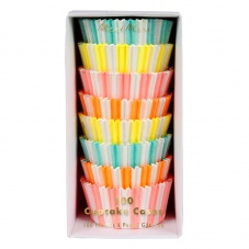 Set 100 Striped Neon Coloured Cupcake Cases By Meri Meri