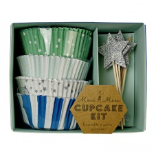 Green & Blue Cupcake Kit & Silver Star Toppers By Meri Meri