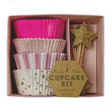 Pink Cupcake Kit Paper Cases & Star Toppers By Meri Meri