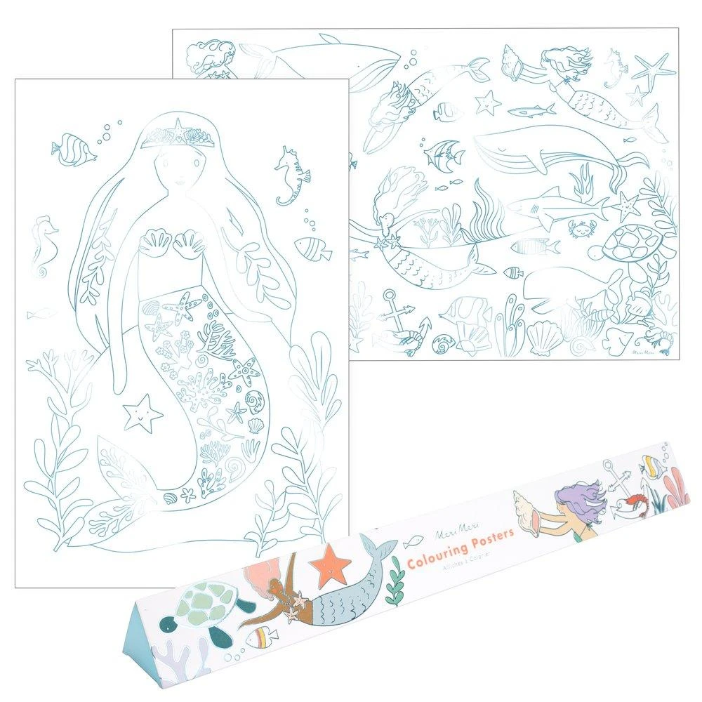 Mermaid Colouring Posters By Meri Meri