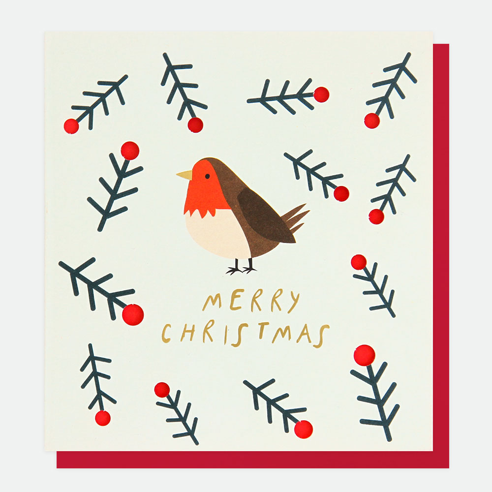 Robin Christmas Card By Caroline Gardner