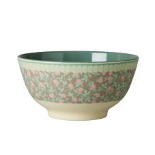 Mini Floral Print Melamine Bowl With Olive Green Rice DK
