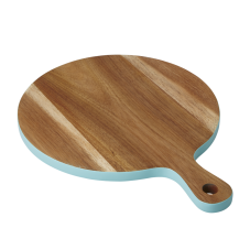 Small Acacia Wood Chopping Board Mint Blue Edging Rice DK