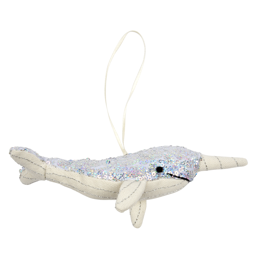 Sequin Narwhal Christmas Tree Decoration By Meri Meri