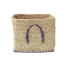 Natural Raffia Square Basket With Gold Thread & Lavender Edges Rice