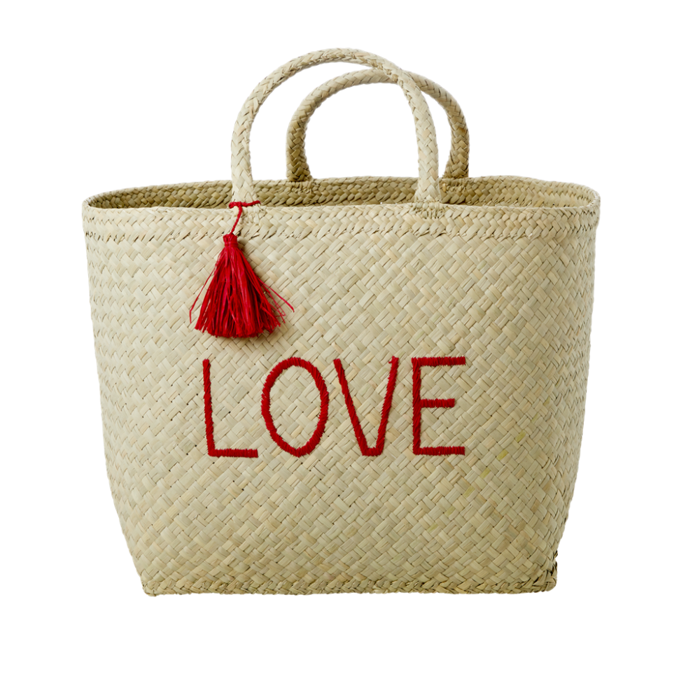 Natural Raffia Shopping Basket LOVE & Red Tassel By Rice DK
