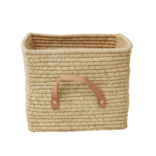 Natural Raffia Coloured Square Storage Basket Rice
