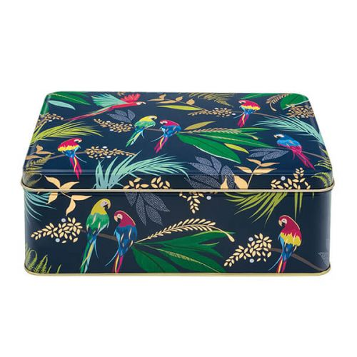 Parrot Print Rectangular Storage Tin By Sara Miller London