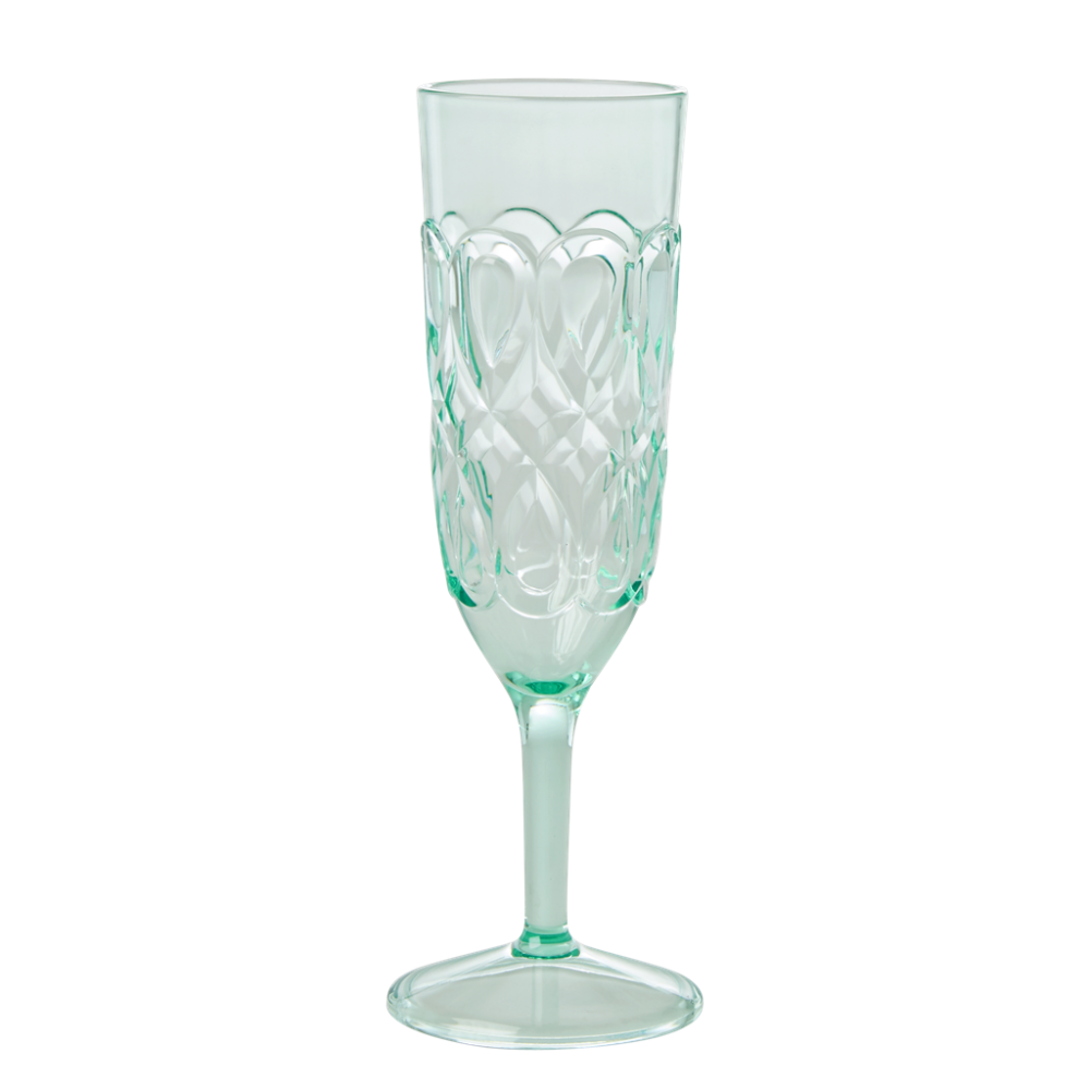Pastel Green Swirl Embossed Acrylic Champagne Glass Rice DK