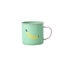 Pastel Green Enamel Mug With Banana Print Rice DK