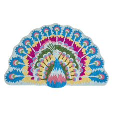 Peacock Floor Mat in Soft Blue and Turquoise By Rice