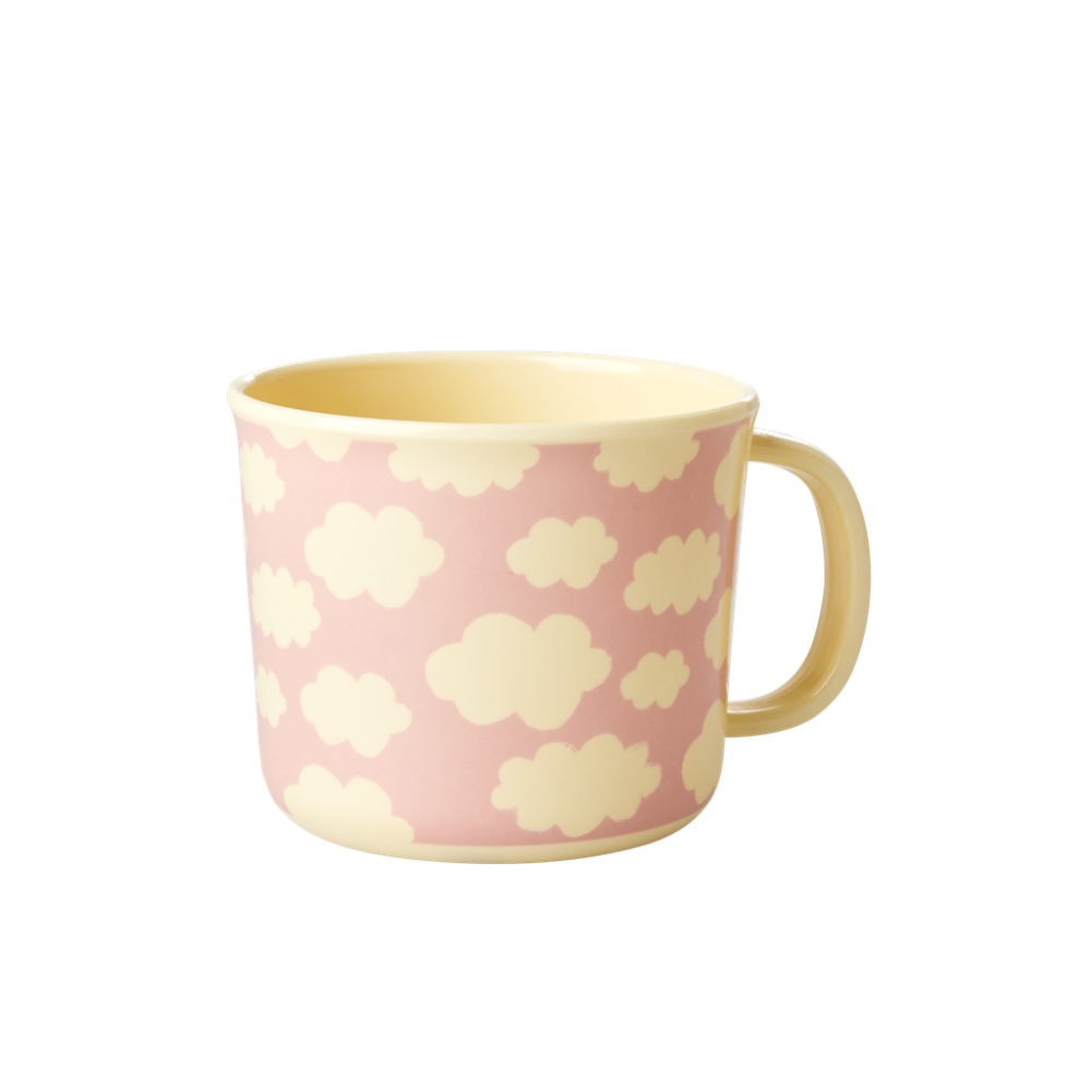 Baby Melamine Cup with Handle Pink Cloud Print Rice DK