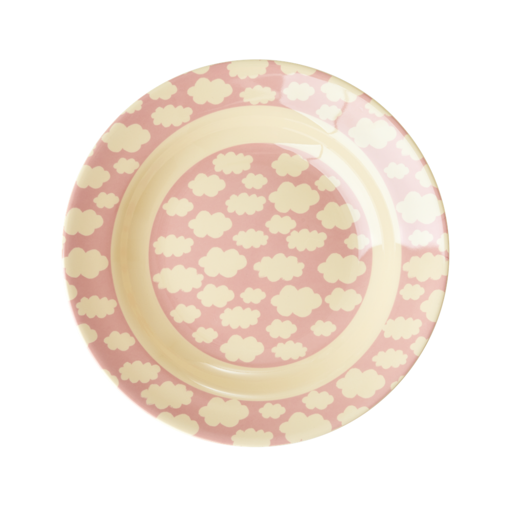 Pink Cloud Print Melamine Kids Bowl Rice DK