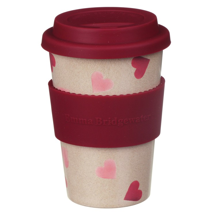 Pink Heart Rice Husk Travel Cup Emma Bridgewater