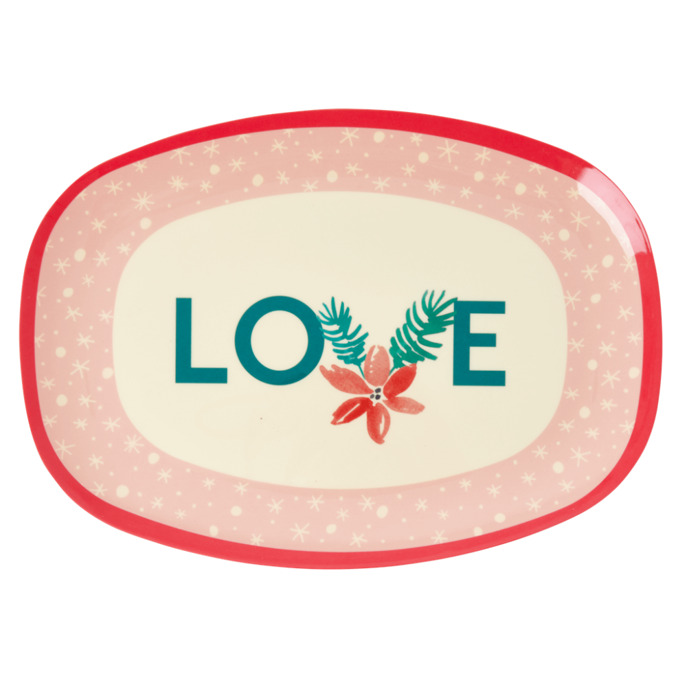 Christmas Pink Love Print Rectangular Melamine Plate By Rice DK