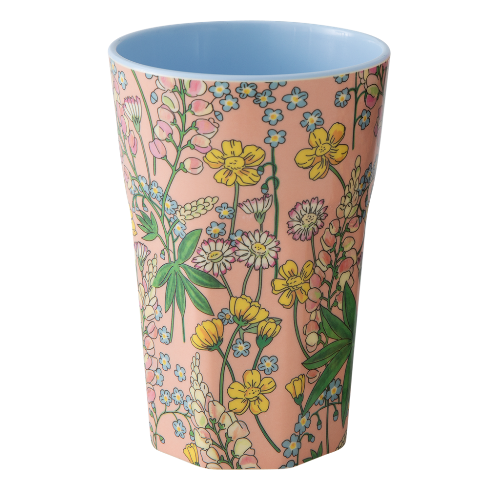 Pink Lupin Print Tall Melamine Cup Rice DK