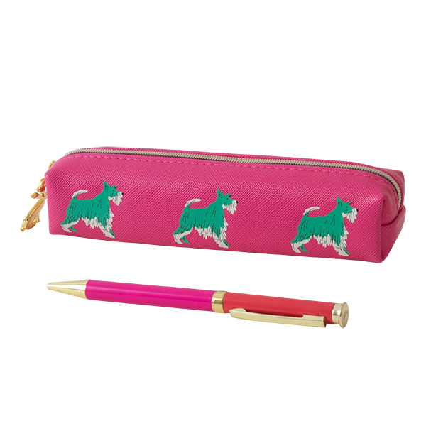 Pen & Pink Pencil Case With Dog Print Set By Joules