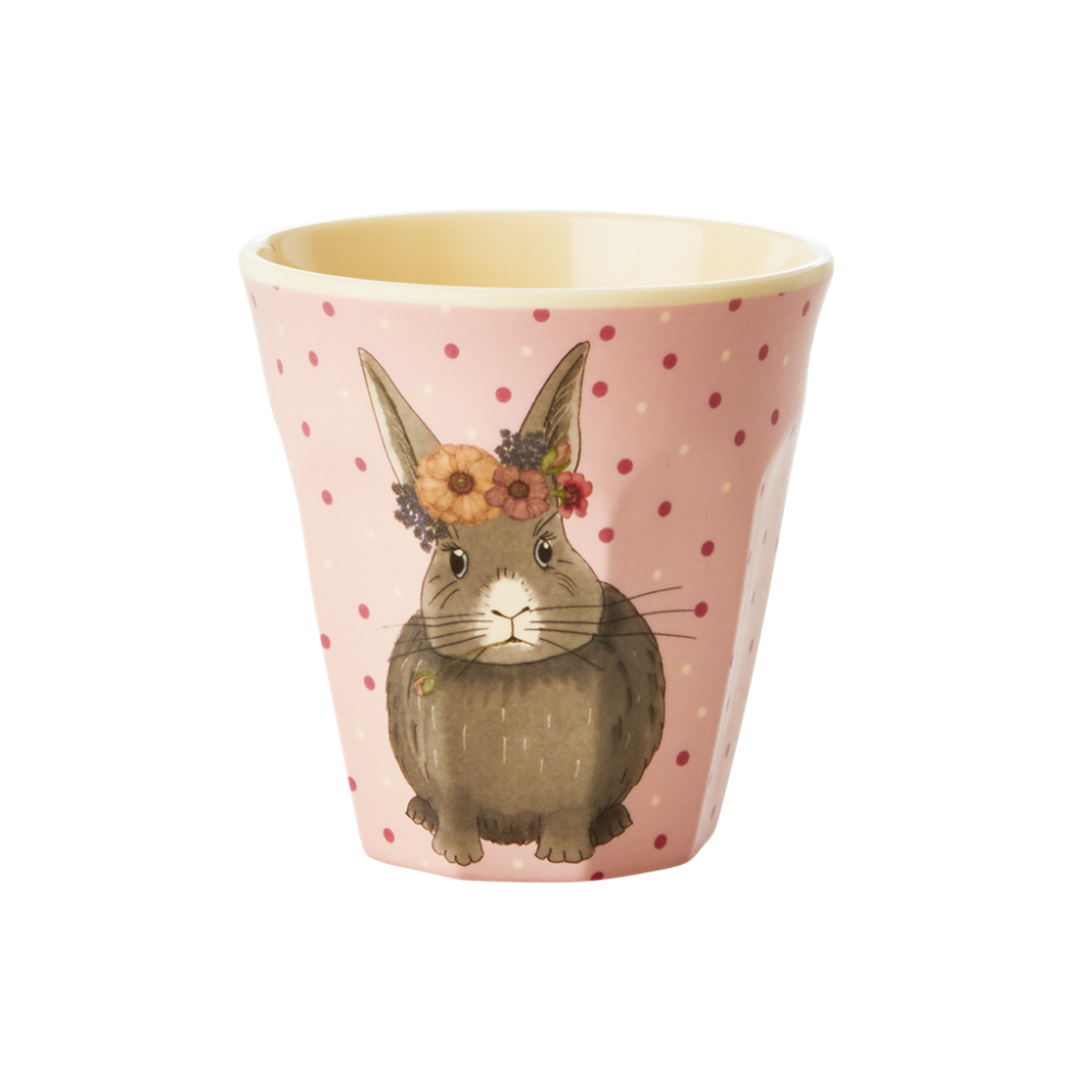 Kids Small Melamine Cup Pink Rabbit Print Rice DK