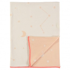 Coral Pink & Cream Stars and Moon Organic Cotton Blanket Meri Meri