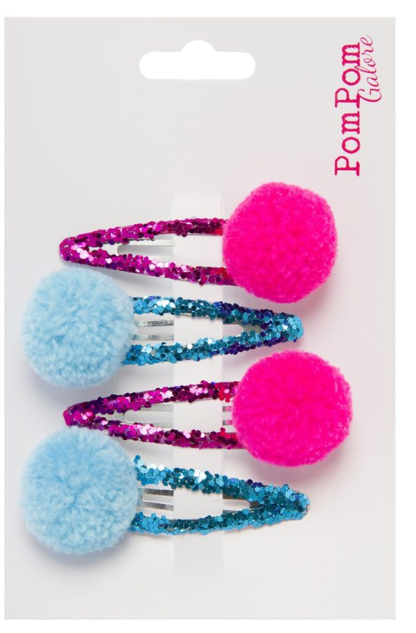 Pink and Turquoise Pompom Glitter Hair Slides By Pompom Galore