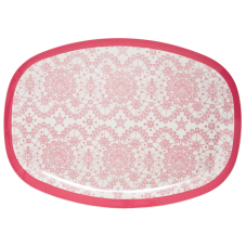 Pink Lace Print Rectangular Melamine Plate Rice DK