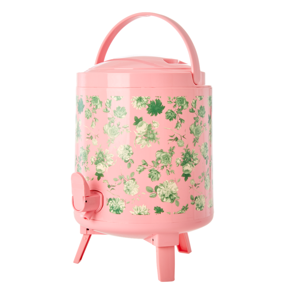 8L Cooler Tank Pink with Green Rose Print By Rice DK