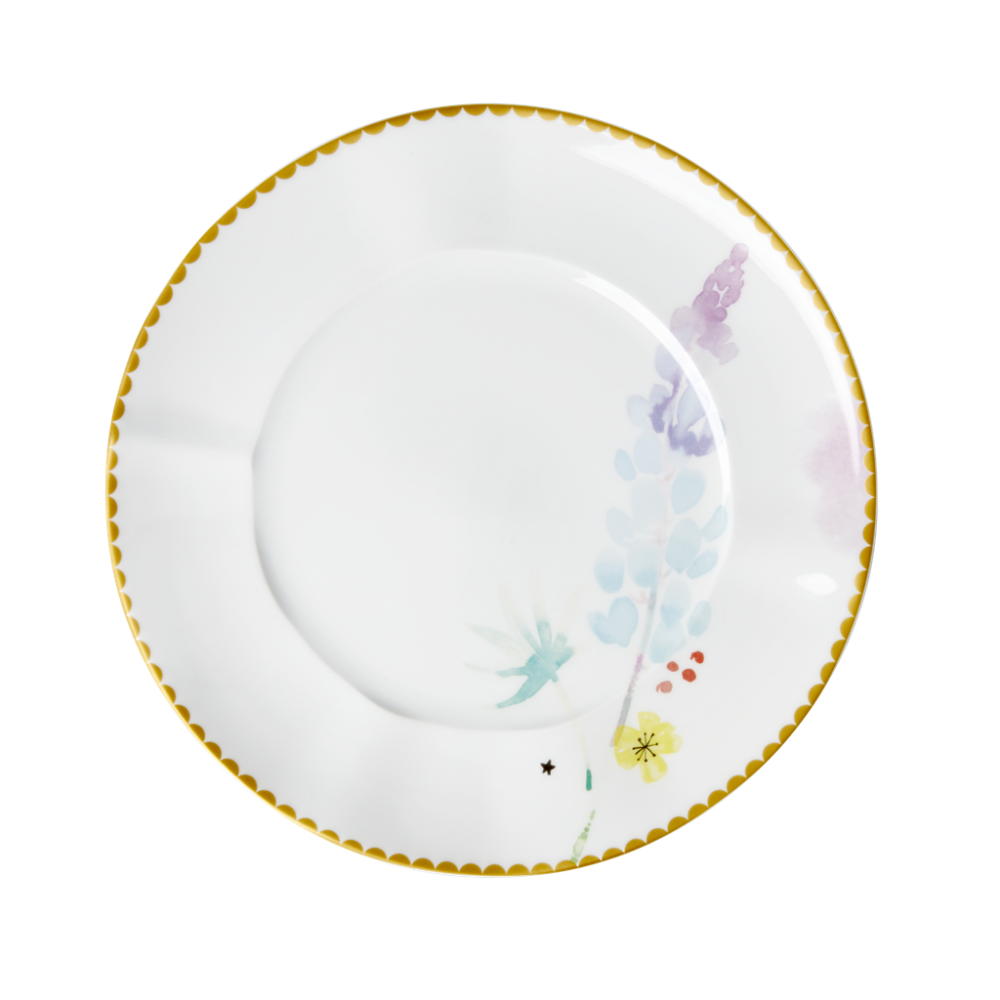 Porcelain Lunch or Cake Plate Blue Lupin Print By Rice DK