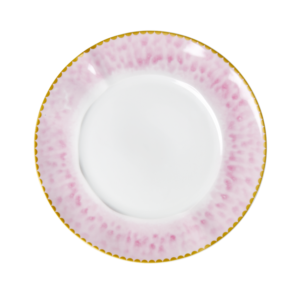 Porcelain Lunch or Cake Plate Glaze Print in Bubblegum Pink By Rice DK