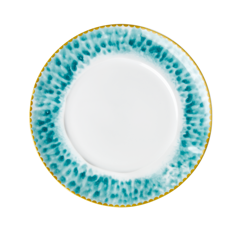 Porcelain Lunch or Cake Plate Glaze Print in Jade By Rice DK