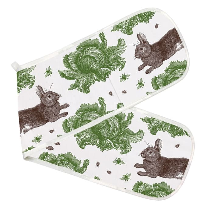 Rabbit and Cabbage Print Double Oven Glove Thornback & Peel