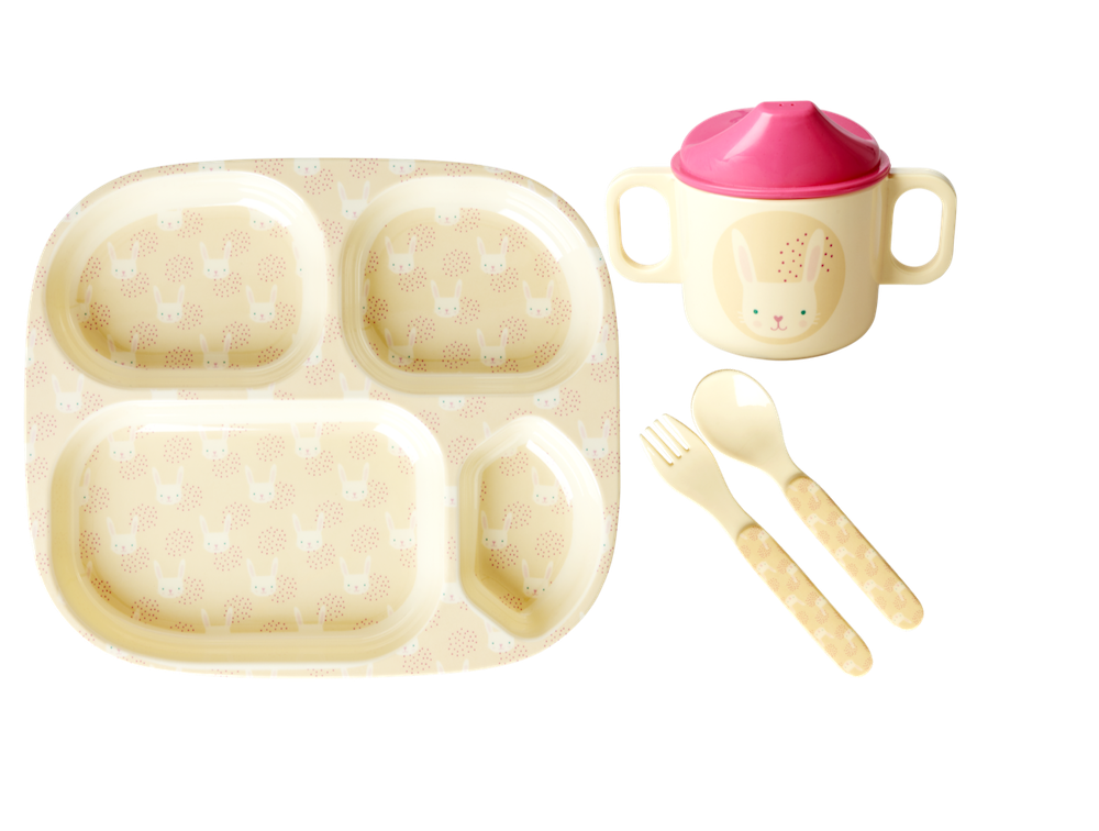 Rabbit Print Baby 4 Piece Melamine Dinner Set in Gift Box By Rice
