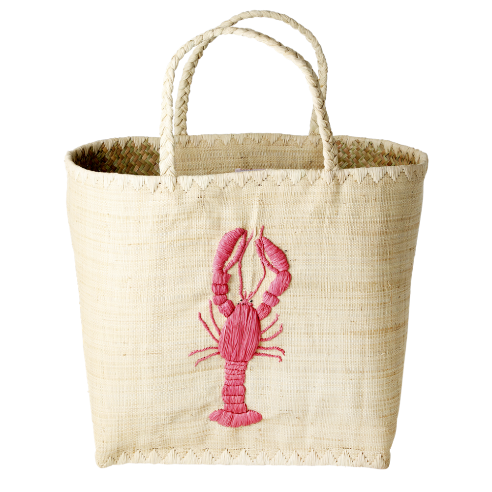 Lobster Embroidered Shopping Basket Rice DK