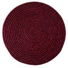Raffia Large Round Placemat Coaster In Bordeaux By Rice DK