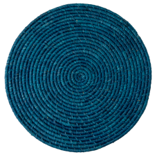 Raffia Large Round Placemat Coaster In Dark Blue By Rice DK