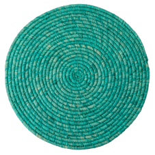 Raffia Large Round Placemat Coaster In Turquoise By Rice DK
