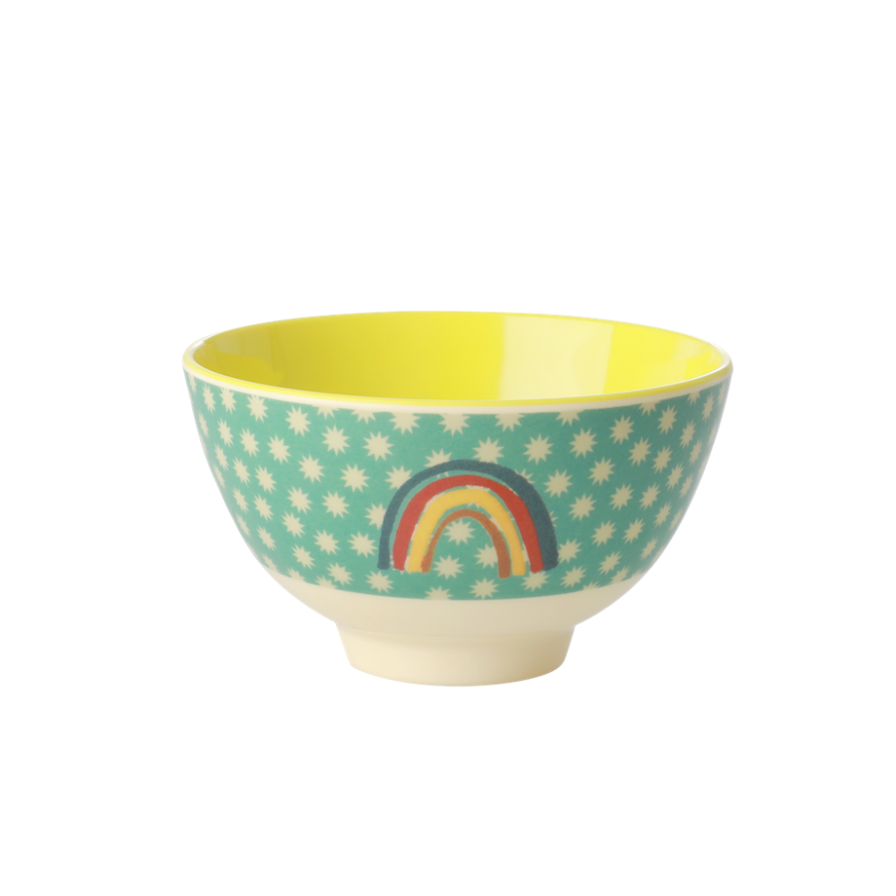 RICE Melamine Melamine Kids Cup with Green and Turqouise Star Print Two Tone