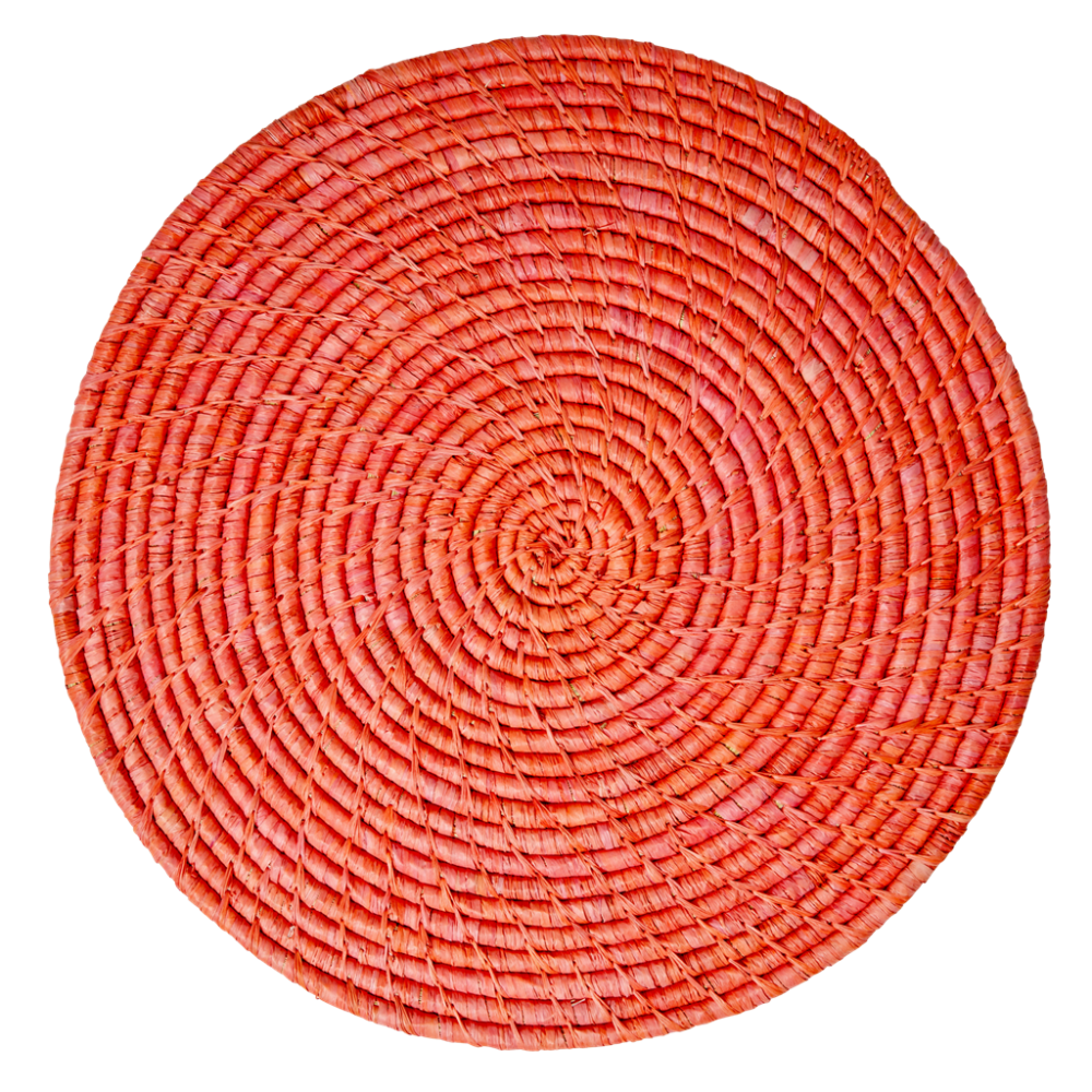 Raffia Large Round Placemat Coaster In Red By Rice DK