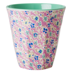 Pink Cascading Flower Print Melamine Cup Rice DK