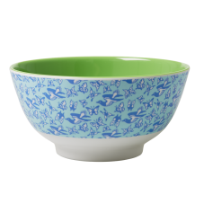 Rice Dk Green & Blue Melamine Bowl with a Bird Print