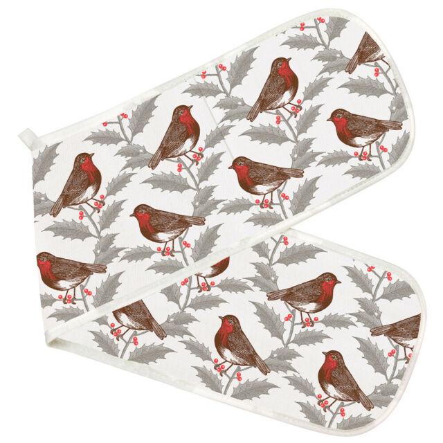 Robin and Holly Print Double Oven Glove Thornback & Peel